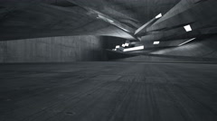 Empty abstract concrete room interior. Night view. Stock Footage