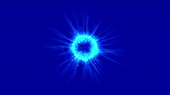 4k Blue flare ball fiber optic laser flying particles energy tech background. Stock Footage
