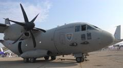 BANEASA ROMANIA-JULY 5 2016 Alenia C-27J Spartan left pan 4k UHD Stock Footage