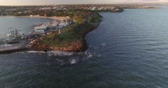 Static aerial shot of Mornington coastline and monument Stock Footage
