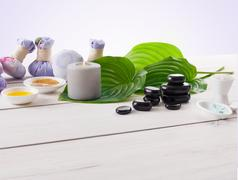 Spa treatment, aromatherapy background. Details and accesories Stock Photos