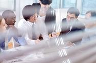 Meeting behind blinds Stock Photos