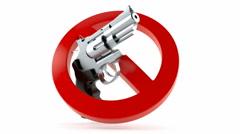 Gun with forbidden symbol Stock Footage