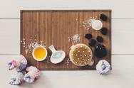 Spa treatment, aromatherapy top view background. Details and accesories Stock Photos