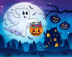 Halloween ghost near haunted house Stock Illustration