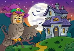 Owl near haunted house theme Stock Illustration