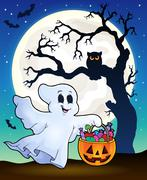 Halloween ghost with tree silhouette Piirros