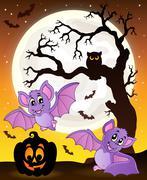 Halloween theme with bats Piirros