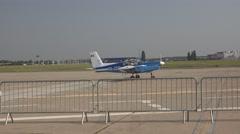 BANEASA ROMANIA-JULY 5 2016 Aerobatic plane on runway   4k UHD Stock Footage