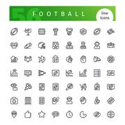 American Football  Line Icons Set Stock Illustration