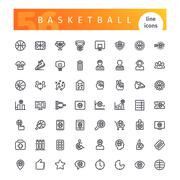 Basketball Line Icons Set Stock Illustration