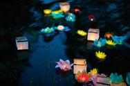 Asian festival of floating paper lanterns Stock Photos