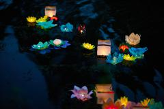 Thai festival of water lantern in honor of Buddha Stock Photos
