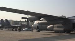 BANEASA ROMANIA-JULY 5 2016 Lockheed C-130 Hercules  4k UHD Stock Footage