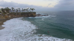 Flying South over Crescent Bay in Laguna Beach, California Stock Footage