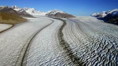 Epic Alaska Overflight Medial Moraine and Crevasses Aerial HD Stock Footage