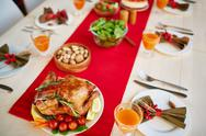 Roasted chicken served with vegetables for fall dinner Stock Photos