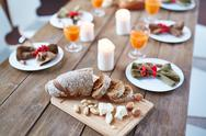 Sliced rye bread on thanksgiving table Stock Photos