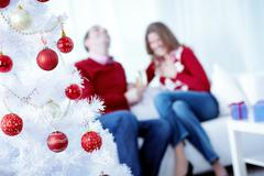 Artificial decorated Christmas tree with a happy couple in the background Stock Photos
