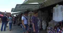 ROMANIA BRAN JULY 25 2016 Tourists looking for souvenirs  from a trip 4k Stock Footage