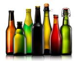 Set of beer bottles isolated on white background Stock Photos
