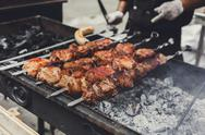 Beef kebab. Fresh meat at grill, bbq Stock Photos