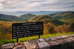 Informational sign and view of the Blue Ridge Mountains from Skyline Drive, i Stock Photos