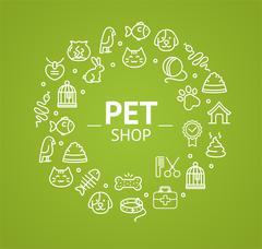 Pet Shop Concept. Vector Stock Illustration