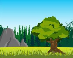 Tree on glade by summer Stock Illustration