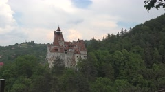Aerial view of Bran Dracula Castle Transylvania land 4k UHD Zoom out Stock Footage