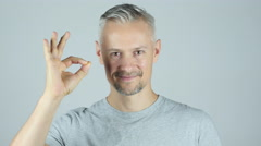Man Showing Ok Sign Stock Footage