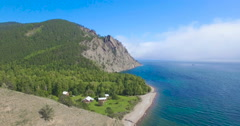 Сoast of lake Baikal, Sennaya pad'. Aerial view, 4K. Stock Footage
