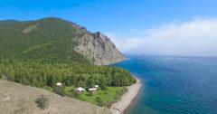 Сoast of lake Baikal, Sennaya pad'. Aerial view, 4K. Stock Footage
