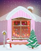Vector winter night scene of window with Christmas candles, lights and gifts Stock Illustration