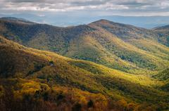 View of spring color in the Blue Ridge Mountains from Blackrock Summit, in Sh Stock Photos