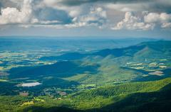 View of the Blue Ridge Mountains and Shenandoah Valley from Stony Man Mountai Stock Photos