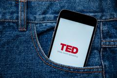 TED an annual conference of Technology Entertainment Design mobile app Stock Photos