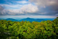 View of the Blue Ridge Mountains from Hawksbill Summit, in Shenandoah Nationa Stock Photos