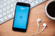 Skype is application that provide text chat video and calls Stock Photos