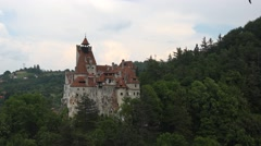 Aerial view of Bran Dracula Castle Transylvania land Stock Footage