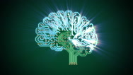 Pulsating electronic brain with rays Stock Footage