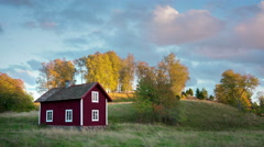 Old wooden house in Sweden Stock Footage