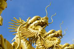 Chinese dragon with blue sky Stock Photos