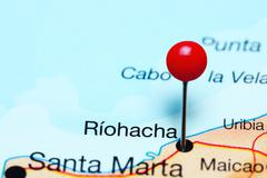 Riohacha pinned on a map of Colombia Kuvituskuvat