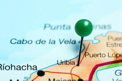Uribia pinned on a map of Colombia Stock Photos