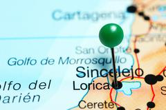 Lorica pinned on a map of Colombia Stock Photos