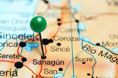 Sahagun pinned on a map of Colombia Stock Photos