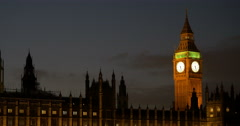 Night view of Big Ben and the Palace of Westminster, London, England Stock Footage