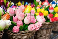 Multi-colored wooden tulips are popular souvenirs in the Netherlands Stock Photos