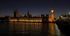 Big Ben, Houses of Parliament, Westminster Bridge, London, England Stock Footage